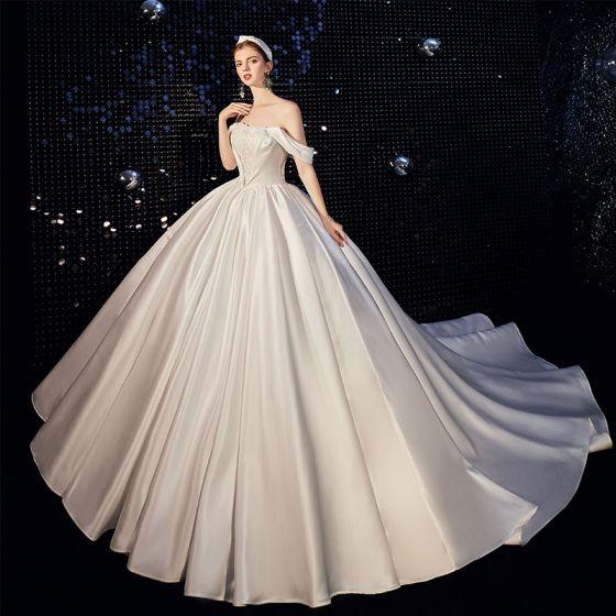 High-end Ivory Satin Wedding Dresses 2020 A-Line / Princess Off-The-Shoulder Short Sleeve Backless Beading Chapel Train Ruffle