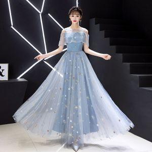 Elegant Sky Blue Evening Dresses  2019 A-Line / Princess Scoop Neck Lace Sequins Appliques Short Sleeve Floor-Length / Long Formal Dresses