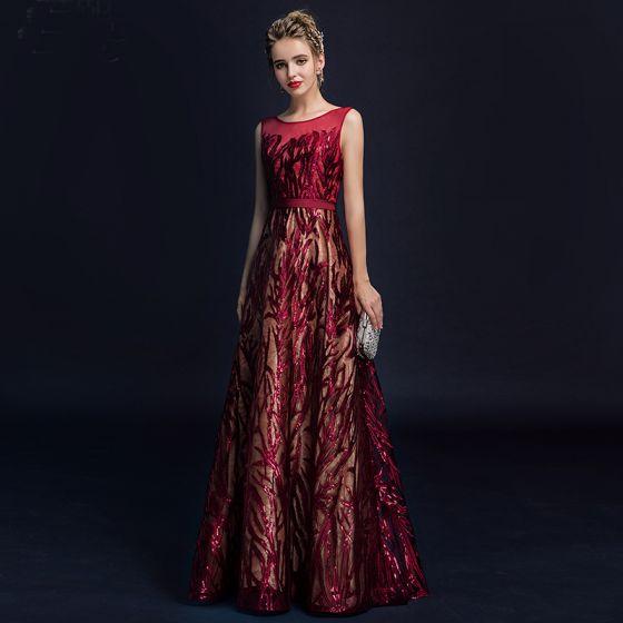 Hermoso Borgoña Vestidos de noche 2018 A-Line / Princess Con Encaje Flor Lentejuelas Cinturón Scoop Escote Sin Espalda Sin Mangas Largos Vestidos Formales