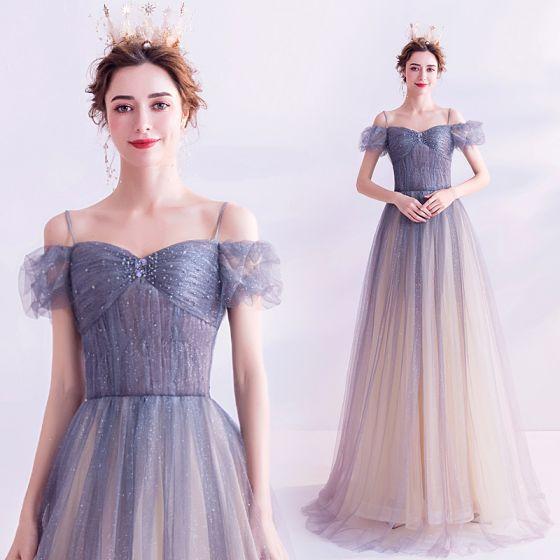 Charmant Bleu Ciel Dégradé De Couleur Robe De Bal 2020 Princesse Bretelles Spaghetti Faux Diamant Glitter Tulle Manches Courtes Dos Nu Longue Robe De Ceremonie