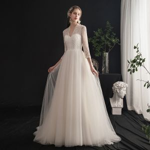 Light Ivory Wedding Dresses 2019 A-Line / Princess V-Neck Beading Pearl Lace Sequins 3/4 Sleeve Backless Sweep Train