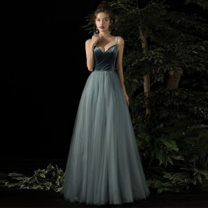 Sexy Ink Blue Suede See-through Evening Dresses  2020 A-Line / Princess Beading Spaghetti Straps Sleeveless Floor-Length / Long Ruffle Backless Formal Dresses