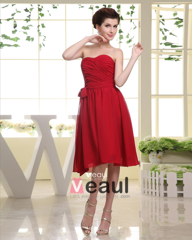 Sweetheart Bowknot Belt Zipper Sleeveless Knee Length Pleated Chiffon Woman Bridesmaid Dresses
