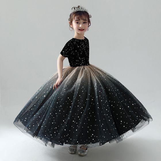 Piękne Czarne Sukienki Dla Dziewczynek 2019 Suknia Balowa Wycięciem Kótkie Rękawy Gwiazda Haftowane Cekinami Tiulowe Długie Wzburzyć Sukienki Na Wesele