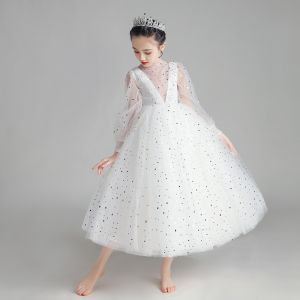 Illusion White Flower Girl Dresses 2020 Ball Gown See-through Scoop Neck Puffy Long Sleeve Star Sequins Ankle Length Ruffle