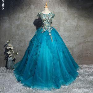 Klassisch Elegante Blau Ballkleider 2017 A Linie Spitze Tülle U-Ausschnitt Applikationen Perlenstickerei Abend Festliche Kleider