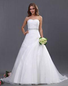 Organza Bead Embellishment Sweetheart Chapel A-Line Bridal Gown Wedding Dresses