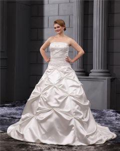 Satin Rüschen Applique Trägerlosen Perlen Große Größen Brautkleider