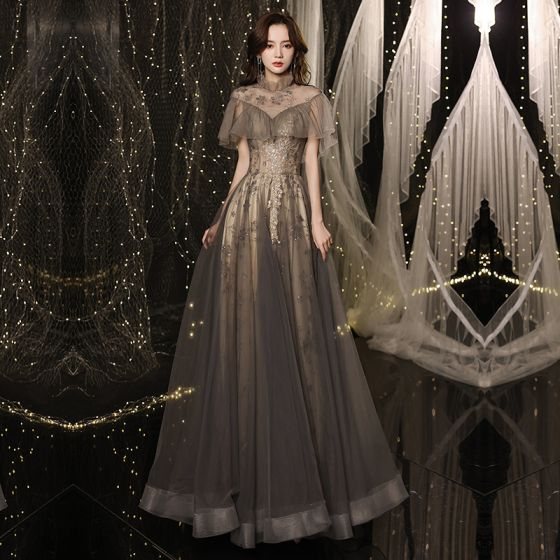 Vintage / Retro Black Gold Dancing See-through Prom Dresses 2021 A-Line / Princess High Neck Short Sleeve Appliques Sequins Glitter Tulle Floor-Length / Long Ruffle Backless Formal Dresses