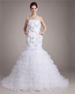 Schatz Bodenlangen Satin Blume Garn Frauen Mermaid Brautkleid