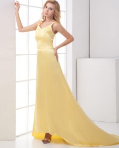 Fashion Charmeuse Shoulder Straps Sleeveless Floor Length Prom Dress