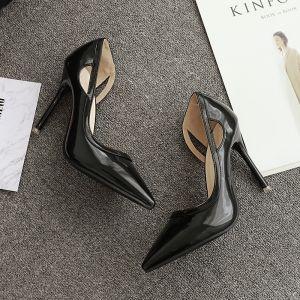 Chic / Belle Noire Talons Hauts 2017 PU Glitter Cocktail Soirée 10 cm Escarpins À Bout Pointu Chaussure De Mariée