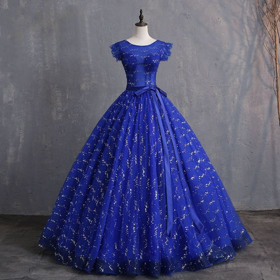 Chic / Beautiful Royal Blue Prom Dresses 2019 A-Line / Princess Scoop Neck Bow Pearl Sequins Sleeveless Backless Floor-Length / Long Formal Dresses