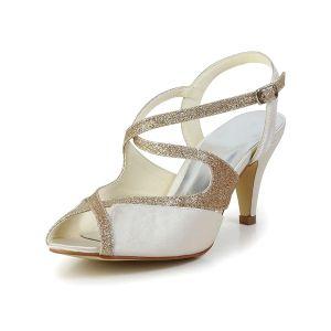 Sprankelende Open Teen Sandaaltjes Champagne Glitter Bruidsschoenen Trouwschoenen
