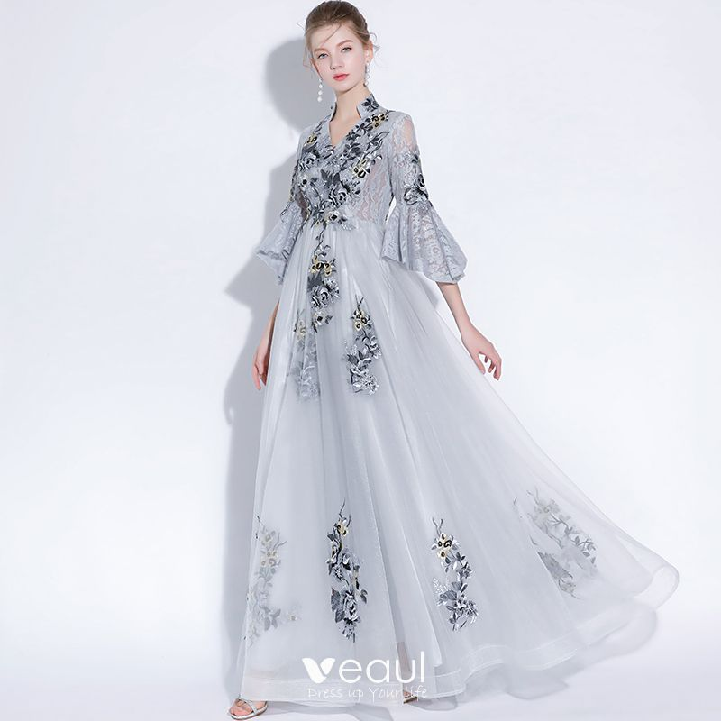 0ef325a4bd4b1 Chinese style Grey Evening Dresses 2018 A-Line / Princess Lace ...