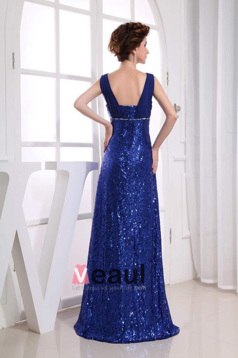 Chiffon Sequins Portrait Sleeveless Zipper Floor Length Prom Dress
