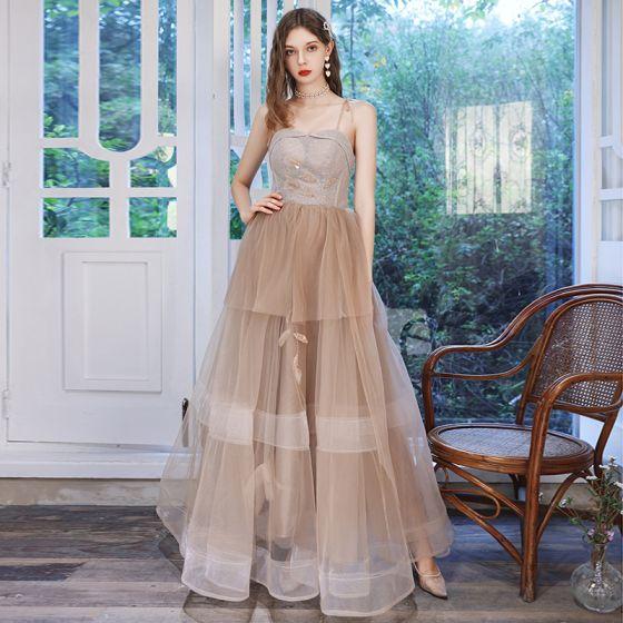 Piękne Szampan Sukienki Na Bal 2020 Princessa Spaghetti Pasy Bez Rękawów Frezowanie Cekinami Tiulowe Długie Wzburzyć Bez Pleców Sukienki Wizytowe