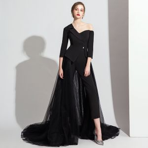 Modest / Simple Black Jumpsuit 2020 One-Shoulder 3/4 Sleeve Sweep Train Ruffle Backless Evening Dresses