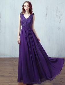 Festliche Farbe Abendkleider 2017 Einfache Design Applique Spitze Lila Chiffon Lange Kleid