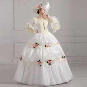 Vintage / Retro Ivory Puffy Ball Gown Prom Dresses 2018 U-Neck Tulle Lace-up 3/4 Sleeve Beading Flower Formal Dresses