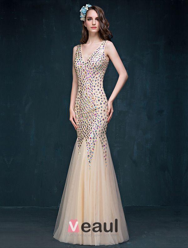 Glitter Trompete / Meerjungfrau V-ausschnitt Sicke Strass Rückenfrei Champagner Lange Abendkleid / Ballkleid