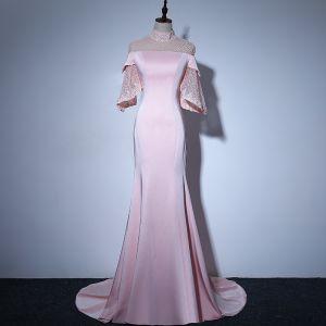 Élégant Rose Bonbon Transparentes Robe De Soirée 2018 Trompette / Sirène Col Haut Manches de cloche Perle Tribunal Train Volants Robe De Ceremonie