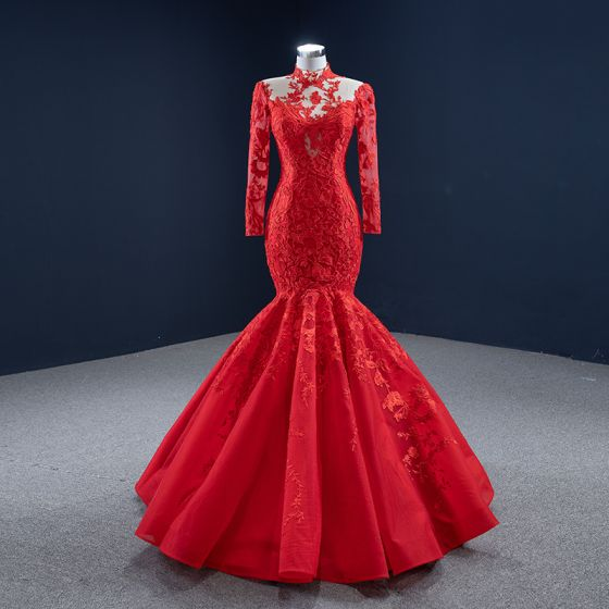 High-end Red Red Carpet Evening Dresses  2020 Trumpet / Mermaid See-through High Neck Long Sleeve Appliques Lace Floor-Length / Long Ruffle Formal Dresses