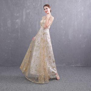 Abordable Doré Transparentes Robe De Soirée 2019 Princesse Encolure Dégagée Sans Manches Ceinture Glitter Paillettes Longue Volants Dos Nu Robe De Ceremonie