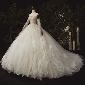 Luxury / Gorgeous Ivory Bridal Wedding Dresses 2020 Ball Gown Off-The-Shoulder Long Sleeve Backless Appliques Lace Sequins Beading Pearl Flower Ruffle Chapel Train