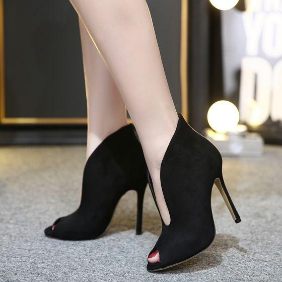Rimelig Svart Casual Suede Sandaler Dame 2020 11 cm Stiletthæler Peep Toe Sandaler