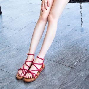 Bohême Moderne / Mode Rouge Sandales Femme Plage Jardin / Extérieur Été Lanières X-Strap Chaussures Femmes 2019