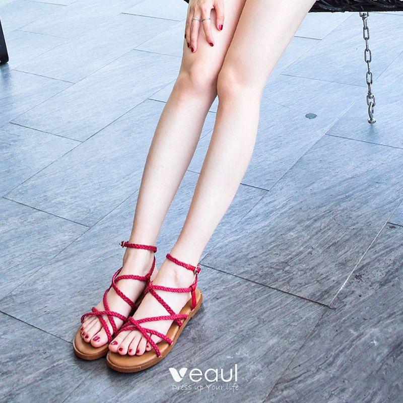 Moderne Mode Sandales Bohême Femme Jardin Extérieur Rouge Plage fvmb6I7gYy