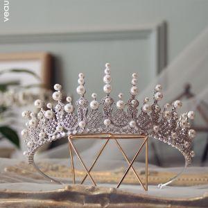 Luxus / Herrlich Silber Tiara Hochzeit Brautaccessoires 2019 Legierung Zirkon Perle Haarschmuck Braut