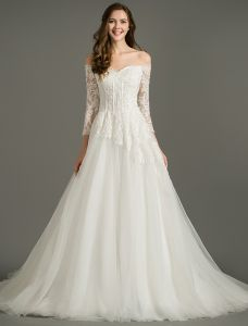 A-line Off The Shoulder Applique Lace Organza Backless Wedding Dress