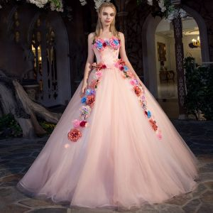 Flower Fairy Pearl Pink Prom Dresses 2019 A-Line / Princess Strapless Sleeveless Appliques Flower Floor-Length / Long Ruffle Backless Formal Dresses