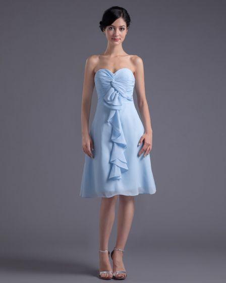 Sweetheart Knee Length Ruffles Pleated Chiffon Women Bridesmaid Dress