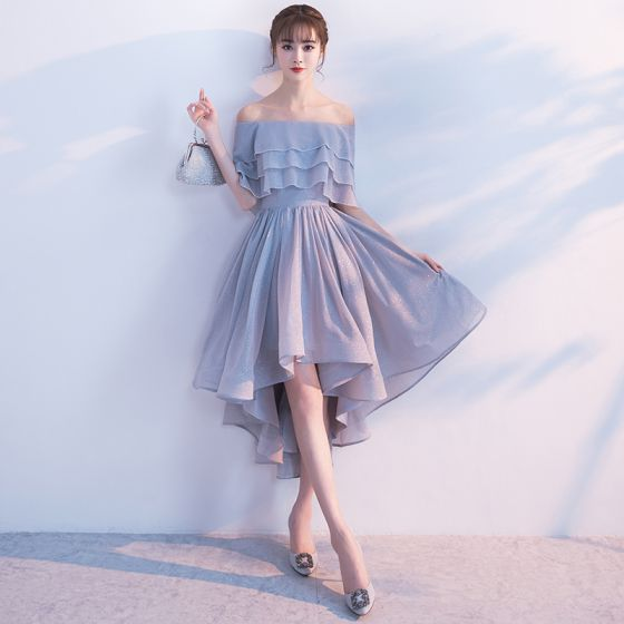 Glitter Silver Cocktail Dresses 2017 Off-The-Shoulder Ruffle Asymmetrical Formal Dresses