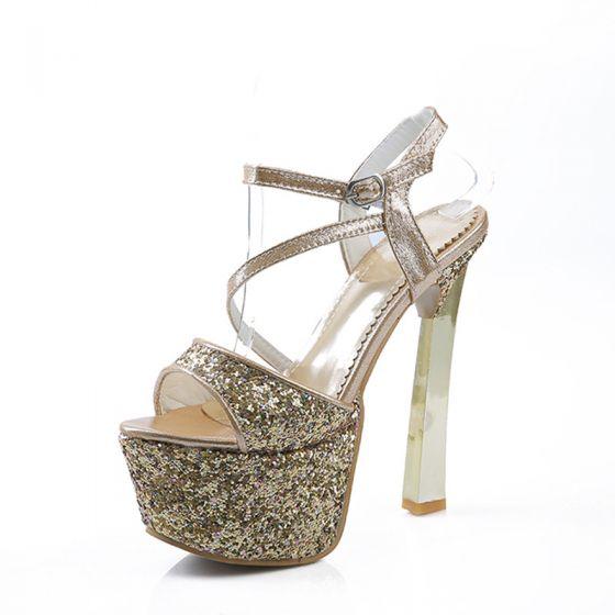 Brillante Oro Gala Tacones 2017 Glitter Poliéster High Heel Plataforma Peep Toe Tacones