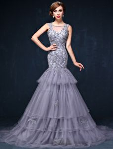 Gorgeous Mermaid Square Neckline Sleeveless Backless Appliques Lace Grey Evening Dress