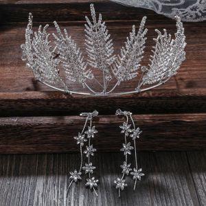 Chic / Beautiful Silver Wedding Accessories 2020 Alloy Rhinestone Tiara Tassel Earrings Bridal Jewelry