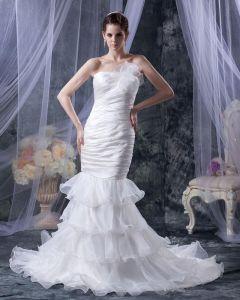 Organza A Volants Perles Bretelles Tribunal Sirène Robes De Mariage Nuptiales De Robe