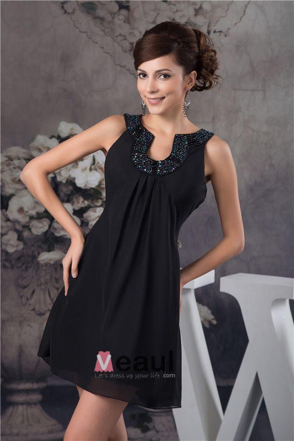 Appel Ajustement À Robe Court De Cocktail Décolleté De Perles Uniques Petite Robe Noire