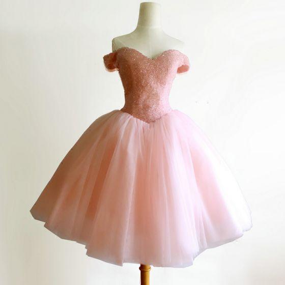 Eleganckie Różowy Perłowy Sukienki Koktajlowe 2018 Suknia Balowa Frezowanie Kryształ Przy Ramieniu Bez Pleców Bez Rękawów Krótkie Sukienki Wizytowe