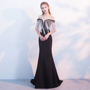 Sexy Black Evening Dresses  2018 Trumpet / Mermaid Scoop Neck Cap Sleeves Crystal Tassel Strapless Beading Pearl Sweep Train Backless Formal Dresses