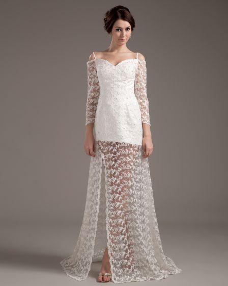 Beautiful A Line Sweetheart Satin Lace Short Mini Wedding Dress