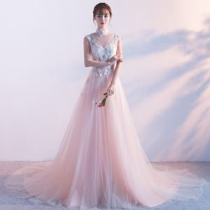 Elegant Pearl Pink See-through Evening Dresses  2018 A-Line / Princess High Neck Sleeveless Pearl Appliques Lace Pierced Chapel Train Ruffle Formal Dresses
