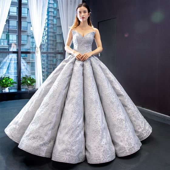 High-end Grey Dancing Prom Dresses 2020 Ball Gown Sweetheart Sleeveless Appliques Lace Glitter Tulle Floor-Length / Long Ruffle Backless Formal Dresses