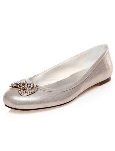 Chaussures De Mariage Paillettes Plat Chaussures De Mariée Bowknot Métal Avec Strass