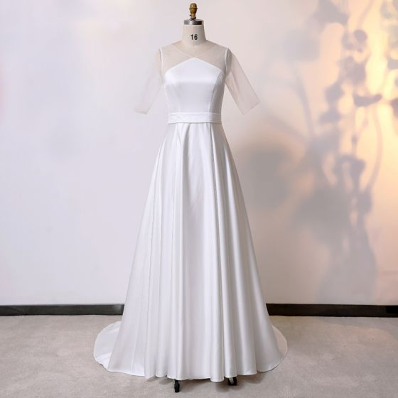 Modest / Simple Classic Ivory Plus Size Wedding Shoes 2020 Solid Color A-Line / Princess U-Neck 1/2 Sleeves Handmade  Wedding