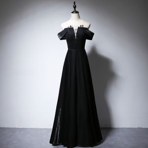 Élégant Noire Robe De Soirée 2020 Princesse Encolure Dégagée Perlage Manches Courtes Dos Nu Longue Robe De Ceremonie